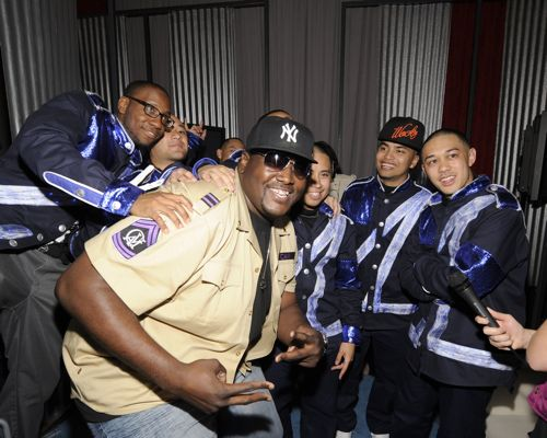 Actor Quinton Aaron (The Blind Side) poses with America's Best Dance Crew Season 1 champions JabbaWockeeZ