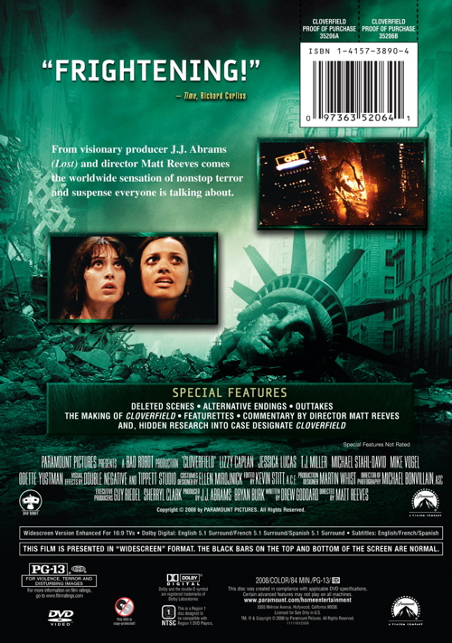 Cloverfield DVD Back Cover Photo