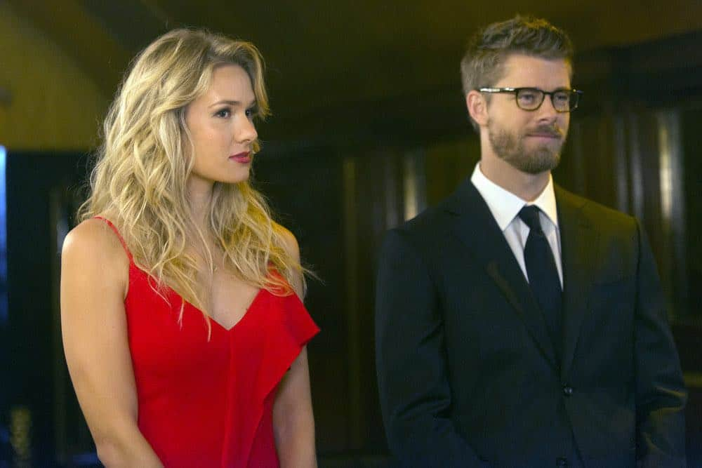 "BLINDSPOT -- ""Warning Shot"" Episode 313 -- Pictured: (l-r) Tori Anderson as Blake, Luke Mitchell as Roman -- (Photo by: Barbara Nitke/NBC)"